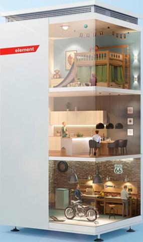 Eine Modellansicht des Komplettsystems Varta element zeigt verschiedene Familien in ihrem Alltag.